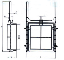 铸铁镶铜方闸门结构图